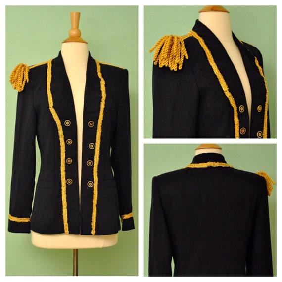 Vintage Pinup Parade Blazer Military Jacket in Navy and Gold with Shoulder Tassels Rockabilly Drum Major