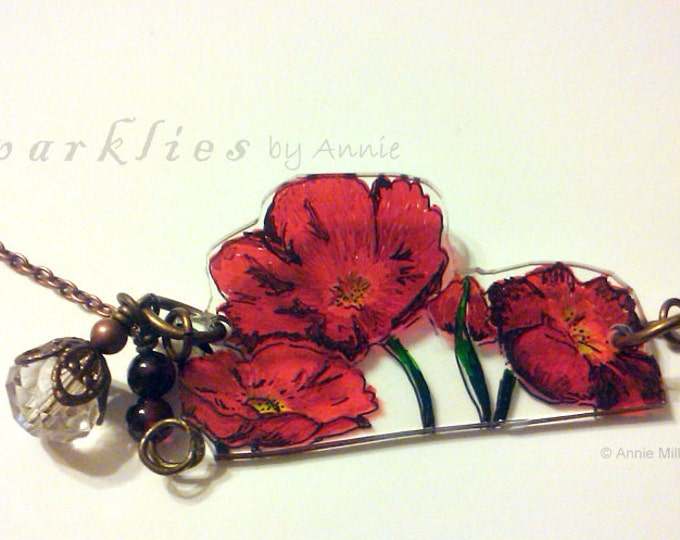 Poppies Necklace with Garnets & Swarovski Crystals
