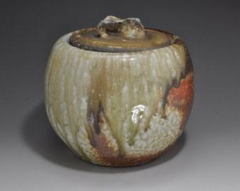 Shigaraki, anagama, ten-day anagama wood firing, with natural ash deposits water jar. mizu-33