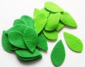 Felt Leaves Green, 40 pieces, Die Cut Shapes, felt shapes, Party Supply, DIY Wedding, Scrap supply