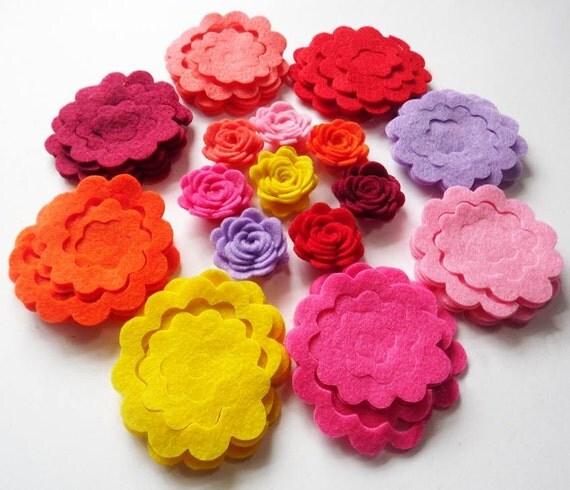 Felt Flower Shapes Unassembled, Die Cut Shapes, Applique, Confetti, Party Supply, DIY Wedding
