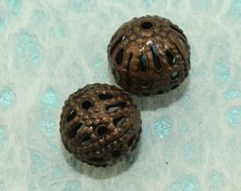Antique Copper Filigree Iron Beads 6mm (12 pcs) C73