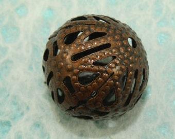 Antique Copper Filigree Iron Beads 14mm (12 pcs) C53