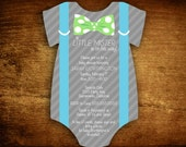 Set of 40 Onesie Die Cut Little Mister Suspenders Baby Boy Shower Invitations