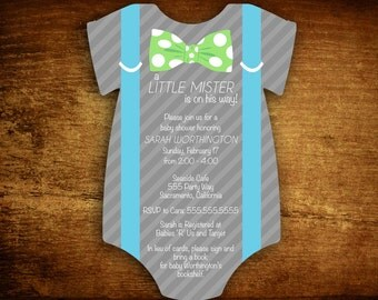 Set of 25 Die Cut Little Mister Suspenders Baby Boy Shower Invitations - set of 20