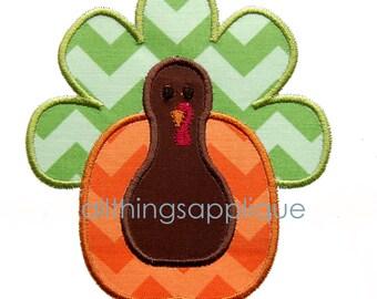 Pumpkin Turkey Applique Design - Thanksgiving Applique - 3 Sizes - INSTANT DOWNLOAD