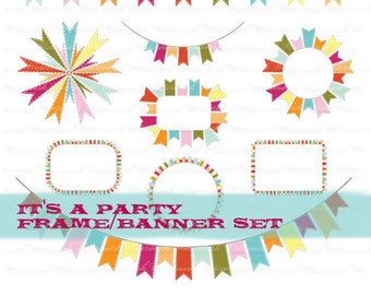 Birthday clip art  frame party clip art ribbon clipart birthday banner : c0249 x301