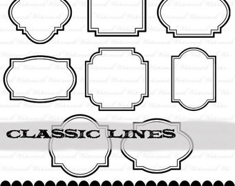 Black digital frame clip art frame clipart, black scrapbook print your own : e0146  v001