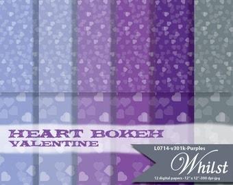 Heart digital paper purple digital bokeh heart texture background printables : L0714 v301 Purples