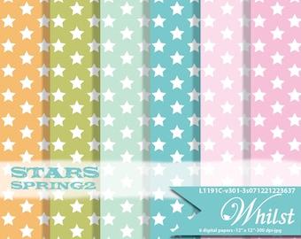 Star digital paper, scrapbooking spring paper digital Easter paper pack  : L1191c v301 spring2