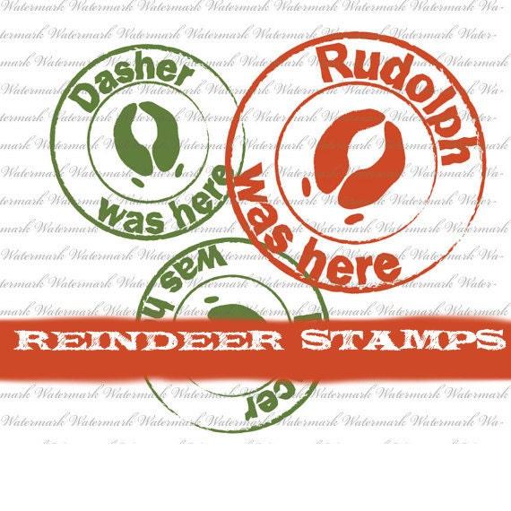Christmas Clip Art Reindeer clipart digital scrapbook Rudolph stamps red green : h0101 & 3s21