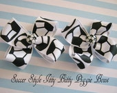 Momma Eva's -- INTRODUCING IttY BiTTy Piggie Bows /  Soccer Ball Set / Perfect For Pig Tails or to Share