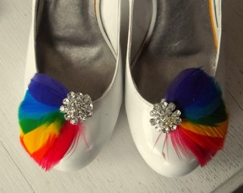 Rainbow Shoe Clips ,Feathered Shoe Clips,, Wedding Shoe Clips, Bridal Shoe Clips, Rainbow Wedding, Crystal Shoe Clips, Shoe Clips for Shoes