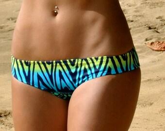 Tribal Print Blue Yellow and Green Surf Cut Bikini Bottoms