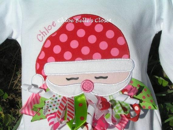 Ribbon Santa Ruffle Shirt in Berry Tadot Fabric