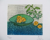 Etching and Woodblock Print:  Fruit Bowl