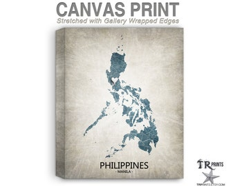 Philippines map etsy philippines map stretched canvas print home is where the heart is love map original publicscrutiny Images