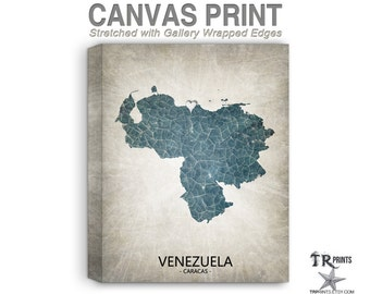 Venezuela Map Stretched Canvas Print - Home Is Where The Heart Is Love Map - Original Personalized Map Print on Canvas