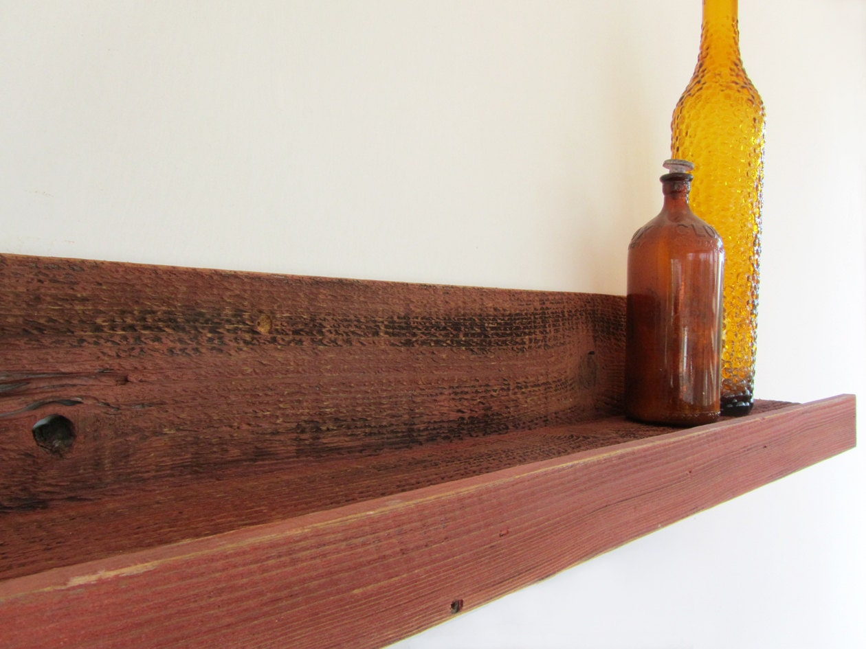 Amazing photo of 30 inch Reclaimed Wood Shelves Rustic Red // Upcycled by reVetro with #B79014 color and 1260x945 pixels