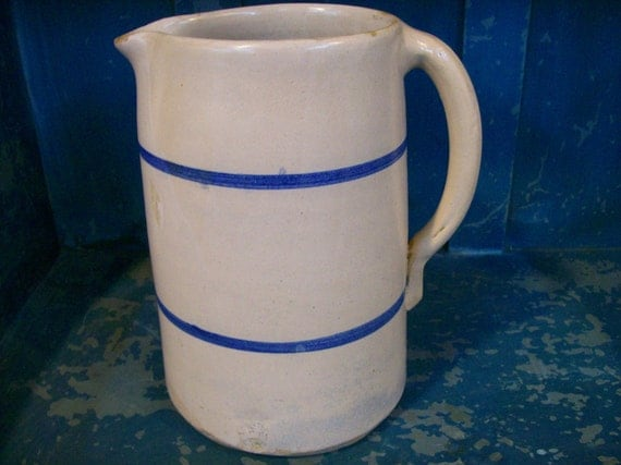 ANTIQUE STONEWARE:  Two Stripe Stoneware Pitcher