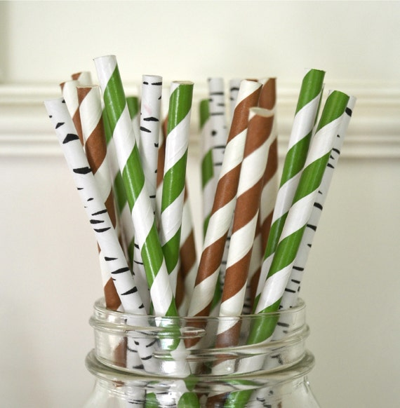 Nature Themed Baby Shower: Items Similar To 25 Paper Straws, Backyard Camping Theme
