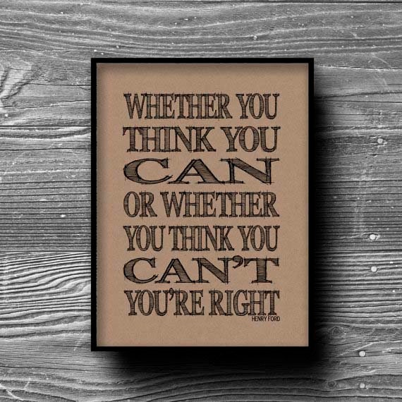 Quote Whether You Think You Can: Whether You Think You Can Typographic Art Print Quote Poster