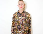 Vintage 80s Slouchy Silk Blouse Mixed Print Oversize Button Up Shirt