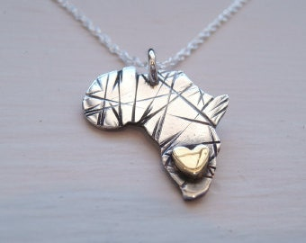 African Pendant Rustic Gold Heart Africa Necklace Map of Africa Pendant Tiger Print Africa - Sterling Silver (925) and 9k Gold