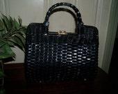 Black Wicker Purse (straw purse) 1950's