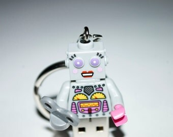 128GB Lady Clockwork Robot USB Flash Drive with Key Chain