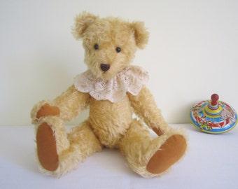 HANDMADE artist bear - English mohair, OOAK, large, antique lace ruff