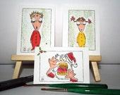 Original Christmas Holiday Art - 3pc ACEO Set