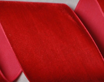 Red Velvet Ribbon 2 inches wide - Two Yards