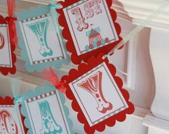 Happy Birthday Red & Blue Vintage Circus Theme Banner - Ask About Our Party Pack Specials - Free Ship Over 65.00