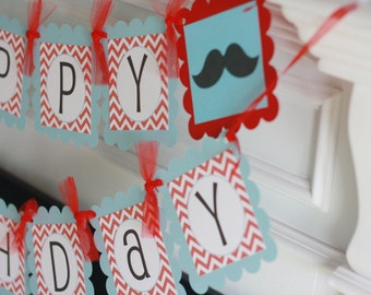"Mustache Bash Happy Birthday Chevron ""Little Man"" or ""Happy Birthday"" Banner - Baby Blue and Red - Ask About our Party Pack Special"