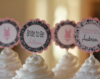 12 - Pink Black Scroll Damask Bridal Shower Bachelorette Lingerie Cupcake Toppers - Ask About our Party Pack Sale - Free Ship Over 65.00