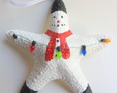 Beach Decor Starfish Snowman Christmas Ornament - Beach Christmas REAL Starfish - Beach Christmas - Nautical Ornament
