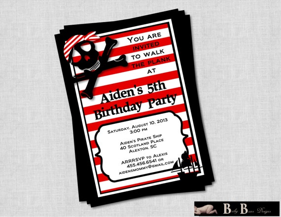 Pirate Birthday Party Invitation (red, black & white)- Printable