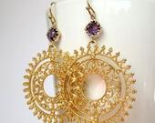 30 Off Sale ,Mandala dangle earrings - summer jewelry - mandala jewelry - summer gold earrings30 off sale jewelry