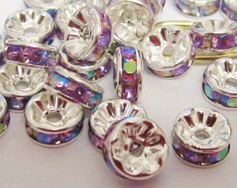 Irridescent Rondelle Silver Plated Spacers 15