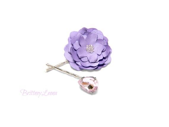 Layla- Pink Gem & Lavender Satin Fabric Flower Bobby Pin Set