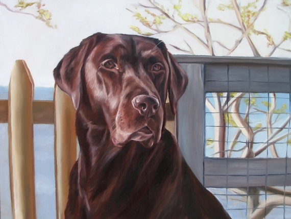 Custom Pet Portrait - Chocolate Lab - Oil Painting - Perfect Gift