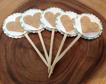 Cupcake Toppers - set of 10 - Burlap Hearts - Mint Green Chevron