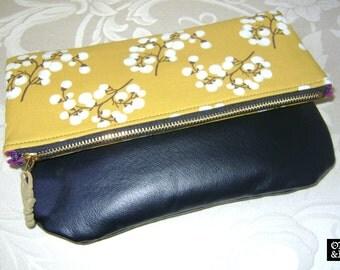 Mustard Multi & Genuine Leather Hand Clutch