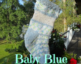 Babys First Christmas, Hand Knit  Blue Christmas Stockings,