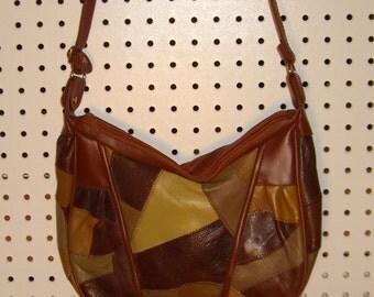 Patchwork leather Shoulder hand bag.