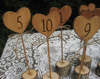 Table Numbers, Rustic Table Numbers, Heart Table Numbers, Wood Table Numbers, Log Slice Table Numbers, Set of 10, Rustic Wedding