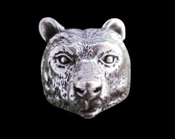 Solid 92.5% Sterling Silver Grizzly Bear Biker Ring - Free Re-Size/Shipping