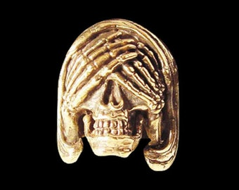Solid Bronze See no Evil Skull Ring - Free Re-Size/Shipping