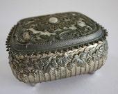 Vintage Filigree Gold Toned Jewelry Box